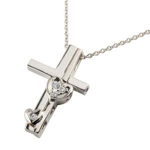 クロス ハート ダイヤモンド ネックレス トップ ペンダント ホワイトゴールドk18 十字架 ダイヤ セパレート レディース 18金 送料無料