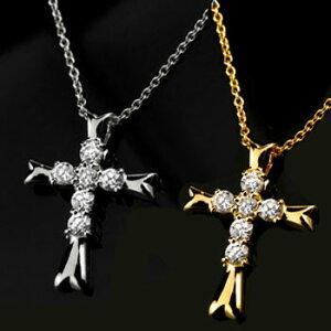ペアネックレス ペアペンダント クロス ダイヤモンド ネックレス ペンダント イエローゴールドk18 ホワイトゴールドk18 十字架 ダイヤ ダイヤ 18金 カップル