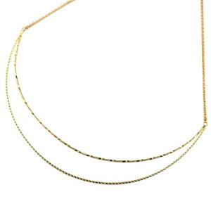 ネックレス 2連ネックレス イエローゴールドk18 18金 地金 チョーカー シンプル レディース 送料無料 の トップ 人気