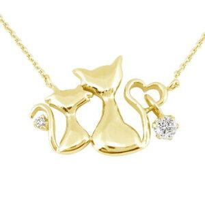ネックレス レディース ダイヤモンド ダイヤ ダイヤネックレス レディース ダイヤモンド ダイヤ ダイヤアニマル 猫 ハート イエローゴールドk18 チェーン 人気 18金送料無料 の トップ