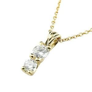 ネックレス ダイヤモンド ダイヤ ダイヤネックレス ダイヤモンド ダイヤイエローゴールドk18ペンダント 2粒SIクラス 18金 レディース チェーン 人気 送料無料 の トップ