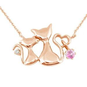 ネックレス レディース 天然石 ダイヤモンド ダイヤ ダイヤ猫 ハート ピンクゴールドk18 選べる天然石 チェーン 人気 18金宝石 送料無料 の トップ
