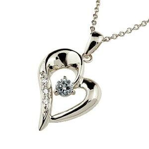 ネックレス トップ ダイヤモンド オープンハートアクアマリン ペンダント ホワイトゴールドk10 10金 レディース チェーン 人気 3月誕生石 ダイヤ 送料無料