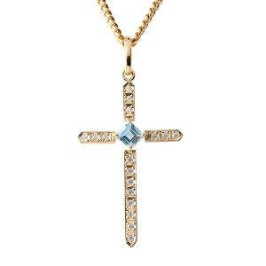 ゴールド ネックレス メンズ 喜平用 ダイヤモンド ブルートパーズ クロス ペンダント トップ ピンクゴールドk10 十字架 チェーン キヘイ の 送料無料