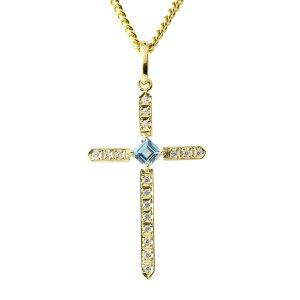 ゴールド ネックレス メンズ トップ 喜平用 ダイヤモンド ブルートパーズ クロス ペンダントトップ イエローゴールドk10 十字架 チェーン キヘイ 送料無料