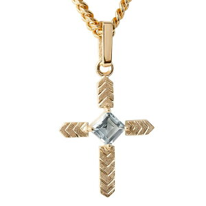 18金 ネックレス トップ メンズ 喜平用 アクアマリン クロス つや消し ゴールド 18k ピンクゴールドk18 十字架 チェーン キヘイ 男性 の 送料無料