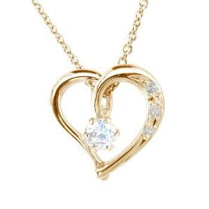 ネックレス ダイヤモンド ダイヤオープンハートブルームーンストーン 6月誕生石 ピンクゴールドK18 チェーン 人気 18金送料無料 の トップ LGBTQ ユニセックス 男女兼用