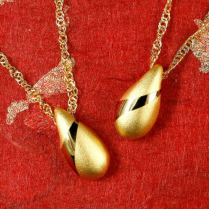 純金 ペアネックレス 24金 ゴールド 24K ティアドロップ ペンダント 24金 ゴールド k24 つゆ型 涙型 雫 送料無料