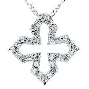 プラチナネックレス ダイヤモンド オープンクロス ペンダント pt900 チェーン 十字架 ダイヤ レディース 人気 送料無料