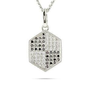 ゴールド ネックレス トップ メンズ 喜平用 ブラックダイヤモンド ダイヤモンド ヘキサゴン ペンダント 10金 ホワイトゴールドk10 男性 キヘイ 個性的 送料無料