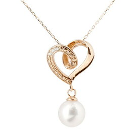 ダイヤモンド オープンハート 誕生石 真珠 フォーマル パール ネックレス ピンクゴールドk10 ペンダント チェーン 人気 6月誕生石 10金 レディース 女性