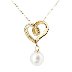 ダイヤモンド オープンハート 誕生石 真珠 フォーマル パール ネックレス イエローゴールドk10 ペンダント チェーン 人気 6月誕生石 10金 レディース 女性