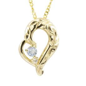 ハワイアンジュエリー ネックレス ブルームーンストーン ダイヤモンド イエローゴールドk10 チェーン ネックレス レディース 10金 オープンハート 送料無料