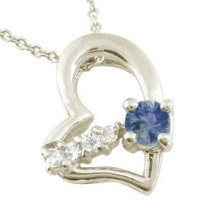 ダイヤモンド オープンハート 誕生石 ネックレス アイオライト オリジナル ホワイトゴールドk18 18k チェーン 18金 ダイヤ 宝石 ユニセックス の 送料無料 LGBTQ 男女兼用 人気