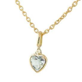 ネックレス アクアマリン一粒 ダイヤモンド イエローゴールドk18 18k ハート 3月誕生石 ダイヤ 18金 レディース プレゼント 女性 送料無料