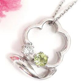 ペリドット ダイヤモンド ネックレス プラチナ 8月誕生石 ペンダント フラワー 花 チェーン 人気 ダイヤ レディース 宝石 プレゼント 女性 送料無料
