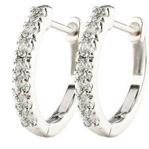 18金 ピアス メンズ 天然ダイヤモンド ダイヤ フープピアス ホワイトゴールドk18 中折れ式ピアス 4月誕生石 天然石宝石 ピアス リング 送料無料