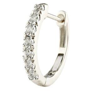 片耳 天然ダイヤモンド フープピアス ホワイトゴールドk10 中折れ式ピアス 4月誕生石 天然石 ダイヤ 10金 レディース 宝石 ピアス リング 送料無料
