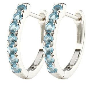 プラチナ ピアス メンズ ブルートパーズ フープピアス 中折れ式ピアス 11月誕生石 天然石 pt900 宝石 ピアス リング 青い宝石 送料無料