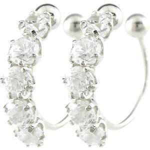 18金 イヤリング ダイヤモンド ダイヤ 0.50ct オリジナル 簡単装着 フープイヤリング ホワイトゴールドk18 ノンホールピアス 宝石 送料無料 LGBTQ 男女兼用