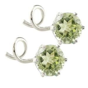 プラチナ ピアス メンズ キャッチのいらないピアス つけっぱなし ペリドット ピアス シンプル 8月誕生石 キャッチナッシャー 宝石 緑の宝石 送料無料