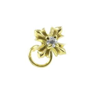 片耳ピアス メンズ キャッチのいらないピアス つけっぱなし クロス ダイヤモンド ダイヤ 一粒 ゴールド 10k キャッチナッシャー イエローゴールドK10 十字架 シンプル 送料無料