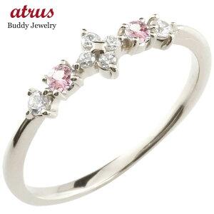 フラワー 花 プラチナリング ピンクトルマリン ダイヤモンド ピンキーリング 指輪 華奢リング 重ね付け pt900 レディース 10月誕生石 宝石 送料無料 人気