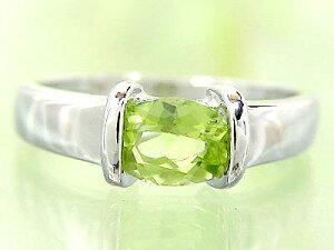 ピンキーリング ペリドット リング 8月誕生石 ホワイトゴールドk18 指輪 18金 ストレート 宝石 送料無料 人気