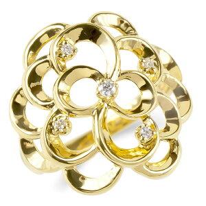 【ポイント15倍-10/31まで】純金 24金 リング レディース ダイヤモンド 花 フラワー 指輪 k24 24k 金 ゴールド 婚約指輪 ピンキーリング 幅広 透かし フローラルパターン 4月誕生石 女性 の 送料無