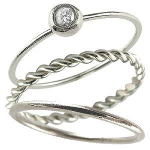 ピンキーリング リング ホワイトゴールドk18 ダイヤモンド 一粒 指輪 華奢 重ね付け3本セット 18金 ダイヤ 4月誕生石 ストレート 送料無料 人気