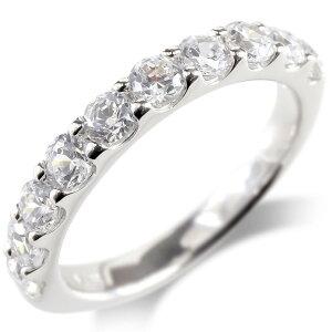 婚約 指輪 18金 リング レディース ダイヤモンド ダイヤ SIクラス 1ct エンゲージリング ハーフエタニティ 指輪 ピンキーリング ホワイトゴールドk18 送料無料 人気