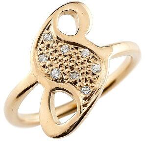 ピンキーリング ダイヤモンド ナンバー8 ピンクゴールドk18 18金 リング 指輪 数字 ストレート 送料無料 人気