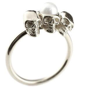 ピンキーリング ドクロ パール 指輪 ホワイトゴールドk10 髑髏 スカル レディース 10金 真珠 フォーマル 送料無料