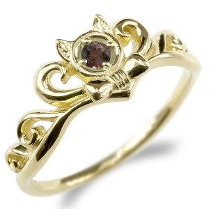 婚約 指輪 18金 リング レディース ガーネット 猫 指輪 ゴールド イエローゴールドk18 ティアラ リボン エンゲージリング ピンキーリング ネコ 送料無料 人気
