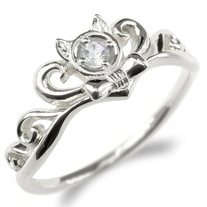 プラチナ 婚約 指輪 リング レディース ダイヤモンド ダイヤ 猫 指輪 pt900 ティアラ リボン エンゲージリング ピンキーリング 女性 ネコ ねこ 人気 送料無料