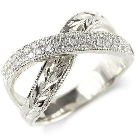 プラチナ リング ダイヤモンド 月桂樹 メンズ 指輪 ミル打ち pt900 ピンキーリング リング 幅広 男性 送料無料