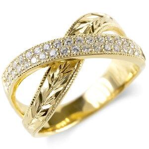 18金 リング ダイヤモンド 月桂樹 メンズ 指輪 ミル打ち 18k ゴールド イエローゴールドk18 ピンキーリング 幅広 送料無料 人気