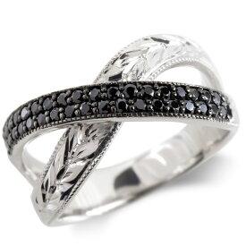 プラチナ リング ブラックダイヤモンド 月桂樹 メンズ 指輪 ミル打ち pt900 ピンキーリング リング 幅広 男性 送料無料