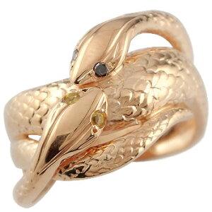 ピンキーリング ブラックダイヤモンド シトリン スネーク 双頭のへび 蛇 指輪 ピンクゴールドk18 18金 ダイヤ 11月誕生石 送料無料 人気