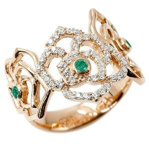 リング バラ エメラルド ピンクゴールドk18 キュービックジルコニア 婚約指輪 ピンキーリング 指輪 幅広 エンゲージリング 18金 薔薇 ローズ 宝石 レディース の 送料無料 人気