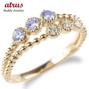 婚約 指輪 ゴールド リング レディース キュービックジルコニア タンザナイト 2連 指輪 ピンクゴールドk10 エンゲージリング ピンキーリング 送料無料 LGBTQ 男女兼用