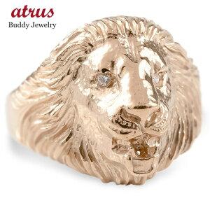 ゴールド リング ライオン ダイヤモンド レディース 指輪 10k ピンクゴールドk10 婚約指輪 ピンキーリング 動物 アニマル 女性 送料無料 人気