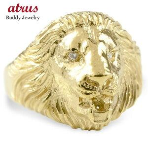 婚約 指輪 ゴールド リング ライオン ダイヤモンド ダイヤ レディース 指輪 10k イエローゴールドk10 ピンキーリング 動物 アニマル 女性 送料無料 LGBTQ 男女兼用