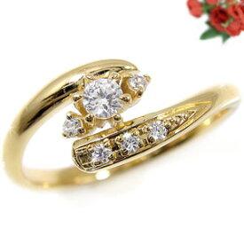 ピンキーリング ダイヤモンドリング イエローゴールドk18 指輪ダイヤモンド k18 ダイヤ 18金 4月誕生石 ストレート 贈り物 誕生日プレゼント ギフト ファッション 18k 妻 嫁 奥さん 女性 彼女 娘 母 祖母 パートナー 送料無料