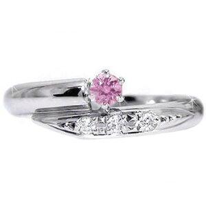 ピンキーリング ピンクサファイアダイヤモンドリング ホワイトゴールドk18 指輪 18金 ダイヤ 9月誕生石 ストレート 宝石 送料無料