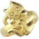猫 リング 指輪 イエローゴールドk18 地金リング 宝石なし 18金 ストレート 贈り物 誕生日プレゼント ギフト ファッシ…
