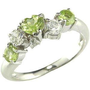 ピンキーリング ハート ペリドット リング ダイヤモンド 8月誕生石 ホワイトゴールドk18 指輪 18金 ダイヤ 宝石 送料無料 人気