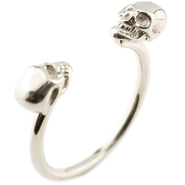 【送料無料】メンズ プラチナリング ドクロ フォークリング 指輪 フリーサイズ ピンキーリング pt900 髑髏 スカル 男性用 ファッション エンゲージリングのお返し