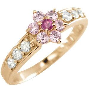 ピンキーリング ピンクサファイア ルビー ダイヤモンドリング 指輪 ピンクゴールドk18 フラワー 取り巻き 18金 ダイヤ 7月誕生石 ストレート 送料無料 LGBTQ 男女兼用