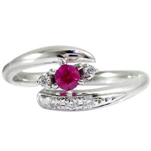 【送料無料】ルビーリング ダイヤモンド ピンキーリング ホワイトゴールドk18 指輪 7月誕生石 18金 ダイヤ ストレート 贈り物 誕生日プレゼント ギフト ファッション 妻 嫁 奥さん 女性 彼女
